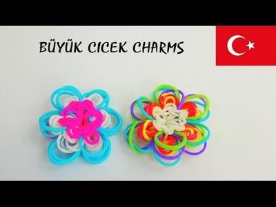 BÜYÜK ÇİÇEK CHARMS Rainbow Loom Yapimi - DIY Türkce - Lastik Loom Anahatarlik nasil yapilir