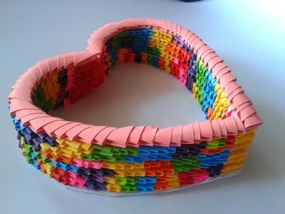 Canasta de corazón (Origami 3D - San valentín) | Manualidades Ani Crafts