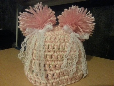 #Crochet baby hat #beanie with pom pom EASY #TUTORIAL DIY hat