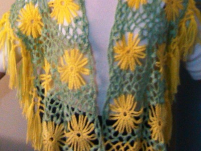 Crochet yellow flower shawl. Part One