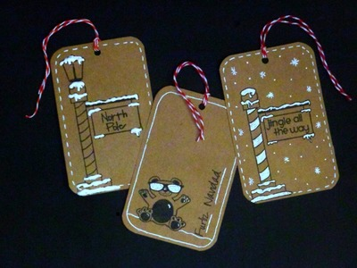 DIY 8 Christmas Tags with One Sheet of Paper and Stamps