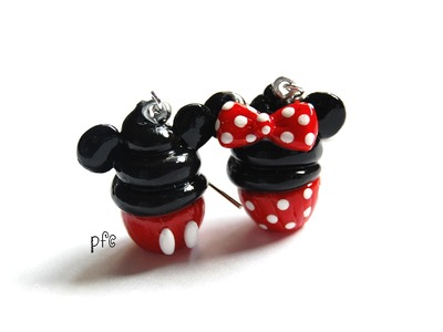 DIY Minnie and Mickey Mouse Polymer Clay Cupcake Earrings Tutorial