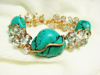 Easy Wire Wrap Loop Da Loop Turquoise Bracelet | Liz Kreate