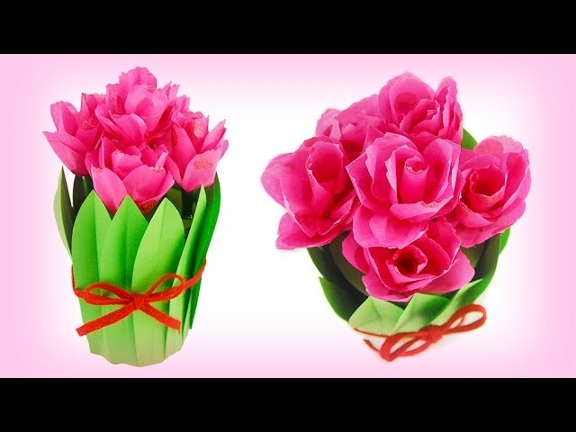 Paper Tulips Bouquet in a Pot *Spring & Mother's Day Craft Idea*