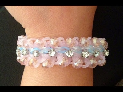 Sparkled layered Ruffles Loom Bracelet: How to add glass beads to loom bracelets