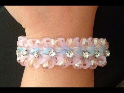 Sparkled layered Ruffles Loom Bracelet: How to add glass beads to loom bracelets