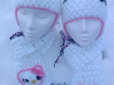 Crochet minnie mouse dress cap booties set hello kitty ear flap hat scarf set| fresh off tha hook