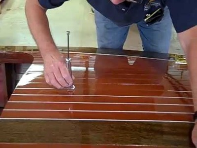 Deck Striping of a 1938 18' antique Chris Craft Wooden Runabout  Boat
