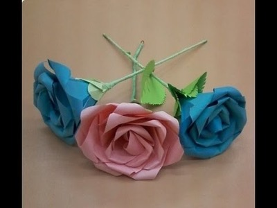 How to make origami rose paper flowers free pattern tutorial