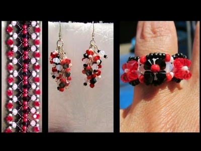 Beading4perfectionists : Matching netted bracelet - earings - and ring beading tutorial