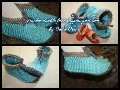 Crochet double face adult size slippers part two