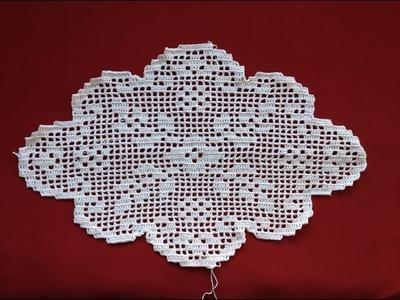 Crochet Oval Flower Filet Part 6