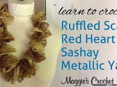 Crochet Ruffle Scarf Sashay Metalic Yarn with Maggie Weldon