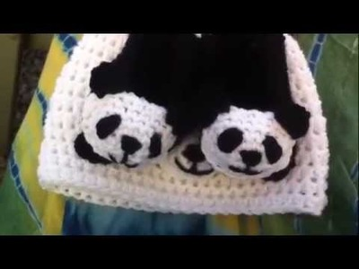 Crochet Showcase | Haylees Hats | Panda set and baby sweaters.