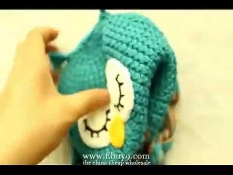 Cute baby owl ear flap crochet small hats