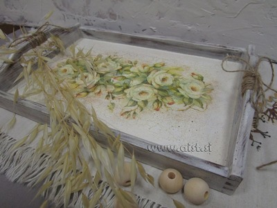 Decoupage tutorial - DIY. How to make country style tray. Postopek servietne tehnike.