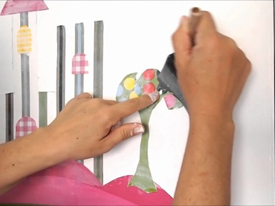 DIY Children's Mural with Fabric - Manualidades: mural infantil con tela