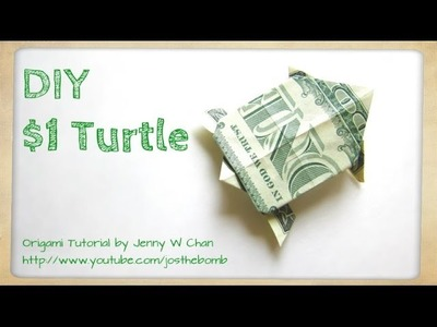 How to Fold Money Origami Turtle - $1 One Dollar Turtle - Dollar Origami - Summer Paper Crafts Kids