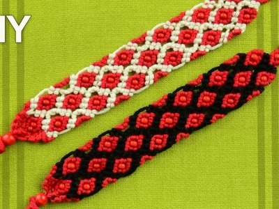 How to Macrame Bracelet - Rhombus with Beads. Tutorial