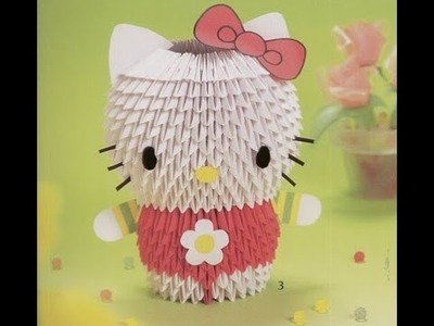 How to make 3D Origami Hello Kitty - Hướng dẫn xếp Hello Kitty Origami 3D