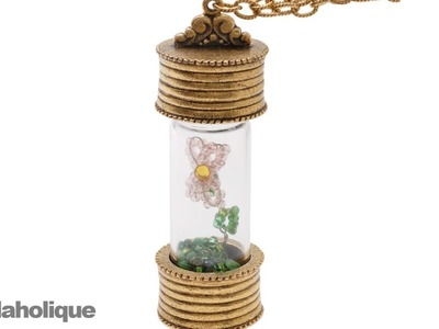 How to Make a Beaded Wire Flower in a Glass Bottle Necklace