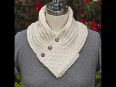 Quilted Lattice Ascot  - Neck Warmer Knitting Pattern Presentation