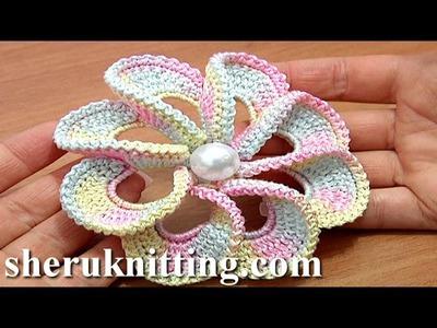 3D Spiral 8-Petal Flower Trim Around Tutorial 56 Perustekniikoilla virkattu kukka