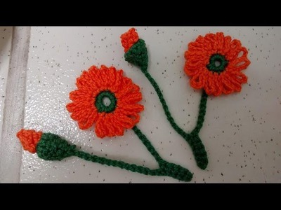 Aplique de crochê- botão e florzinha