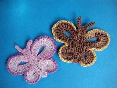 Бабочка - How to crochet butterfly free pattern - Вязание крючком