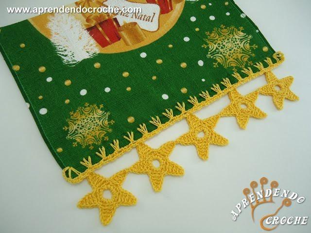Barrado de Crochê Estrelas de Natal