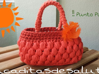 Bolso de Trapillo !! Punto Puff ¡¡ Handbag. of. Trapillo step by step