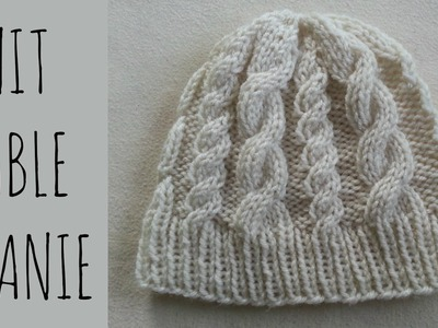 Cable Beanie   Easy Knit Pattern & Tutorial