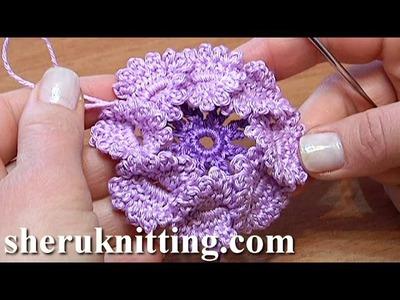 Crochet Flat Center Flower With Picots Tutorial 15Tığ işi çiçek motifi yapımı
