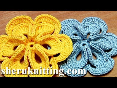 Crochet Flower with Six Petals and 3D Center How To Tutorial 30 Πώς να πλέκω λουλούδι
