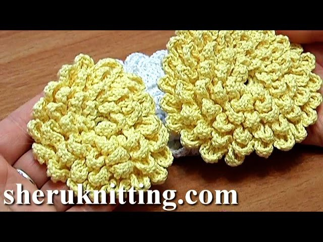 crochet fluffy flower tutorial 9 gro e blume h keln my crafts and diy projects. Black Bedroom Furniture Sets. Home Design Ideas