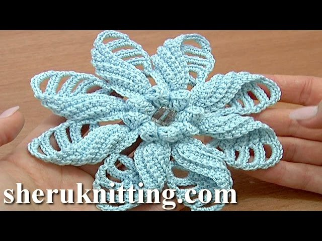 Crochet Folded Petal Flower Tutorial 57 Part 1 of 2 Fiori all'Uncinetto con bottoni usati