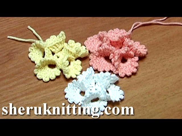 Crochet Folded Petal Flower With Picots Tutorial 13Tığ işi çiçek yapımı Ve Süsleme Örnekleri