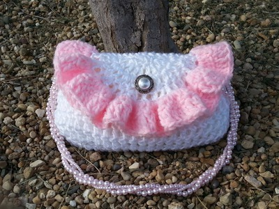 #Crochet Purse Pretty Petite Ruffle Handbag  #TUTORIAL
