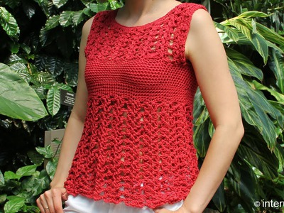 Crochet red azalea stitch summer top