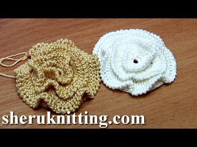 Crochet Ruche Petal Flower Made On Plate Tutorial 16 Part 1 of 2 tığ işi Mor çiçek yapımı