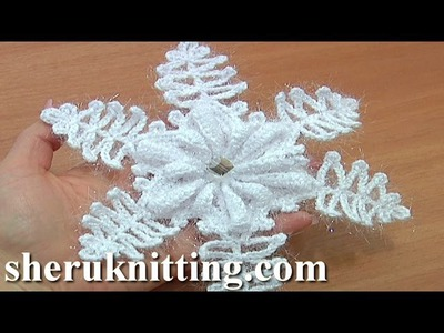 Crochet Snowflake Ornaments Tutorial 9 Part 1 of 2 Folded Petal Flower Center