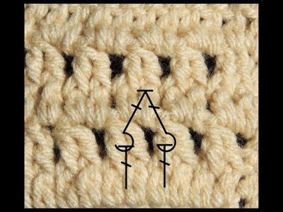 Curso Basico de Crochet : Dos puntos altos en relieve tomados por el frente cerrados juntos