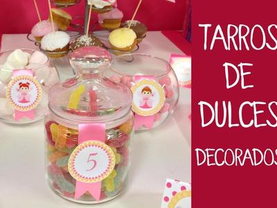 Decoración de fiestas infantiles: Decoración de botes de cristal para dulces
