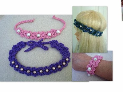 DIY,  Crochet Pearl Headband, or Bracelet