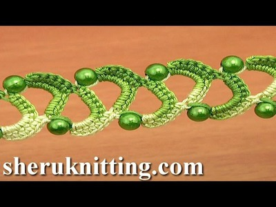 Easy to Crochet Two Side Flat Tape With Beads Tutorial 20