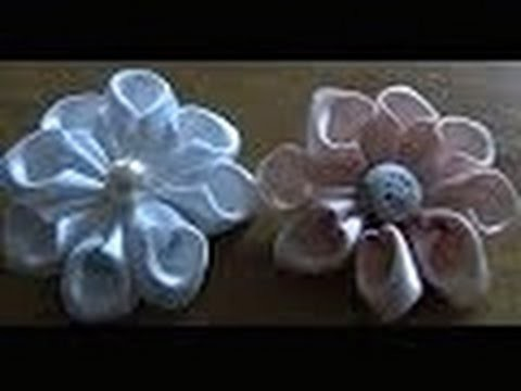 Flor  de junta Passo a Passo - HOW TO MAKE ROLLED RIBBON ROSES- fabric flowers
