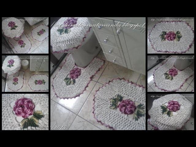 Flor para tapetes em crochês - Artesanatos em Crochê Vanda