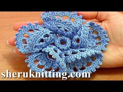 Flower 3D Five Folded Petals Crochet Tutorial 63 Part 1 of 2 Crochet Petals Made of Complex Stitches