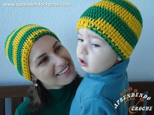 Gorro Crochê Brasil Tal mãe, tal filho - Bebê - Aprendendo Crochê