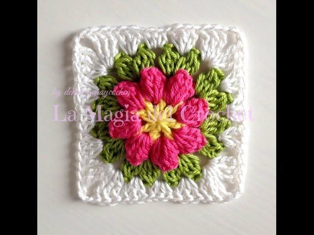 Granny square flor a crochet